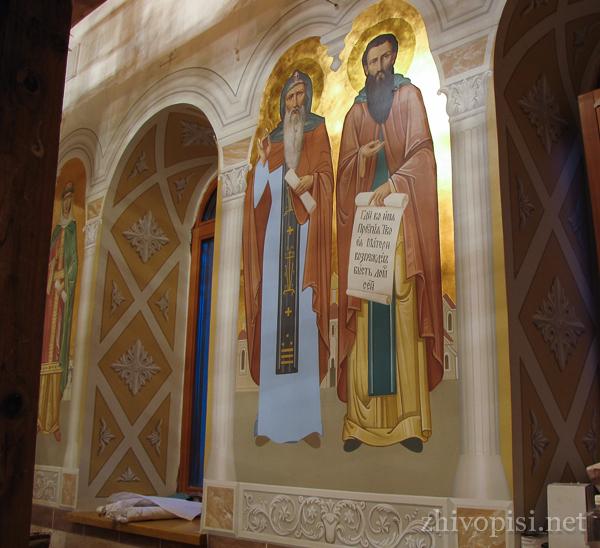 роспись храма: Антоний и Феодосий Печерские