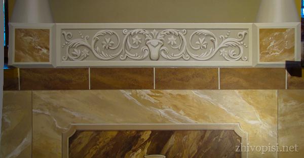 альфрейный орнамент; имитация мрамора